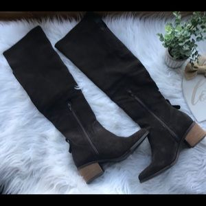 Purly Over The Knee Brown Suede Boots